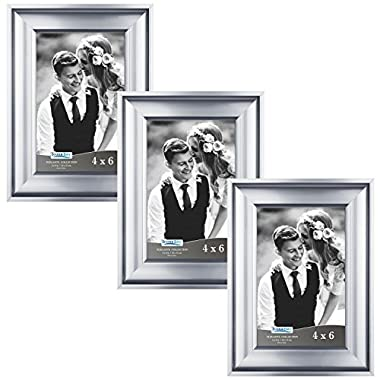 Icona Bay 4 by 6 Picture Frames (4x6, 3 Pack, Silver) Photo Frames, Wall Mount Hangers and Black Velvet Back, Table Top Easel, Landscape as 6x4 Picture Frames or Portrait as 4x6, Elegante Collection