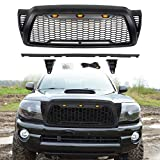 ALL4ROLL Matte Black Mesh Grill Compatible for Toyota 2005 2006 2007 2008 2009 2010 2011 Tacoma, OEM Replacement Grille with 3 Amber Lights