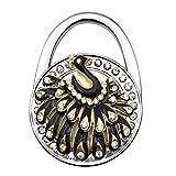 Grtdrm Peacock Theme Designed Folding Handbag Purse Bag Hanger Holder Great Gift (Black)