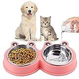 Ciotola Doppia Alimentazione,Ciotola per Gatti in Acciaio Inossidabile,Ciotola Animali Antiscivolo,Applica a per cani / gatti / piccolo animale Rimovibile Doppia Alimentazione Ciotola (rosa)