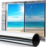 Pellicola Privacy per Finestre, Pellicola Specchio Finestra Non Adesiva Pellicola Autoadesive per Doccia Bagno Camera da Letto Ufficio Sala di Riunione Protezione UV 44.5*200 CM