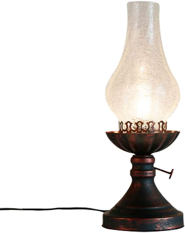 MYXMY Retro amerikanische Kerosinlampe des Pferdelichts führte Pferdelichtkaffeerestaurantschmiedeeisen kreative dimmable Tischlampe