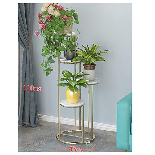 YILANJUN Vloerstaande metalen plantenbak, plantenvitrine voor binnen, smeedijzeren frame met marmeren platen (80 × 43 CM, 110 × 43 CM)