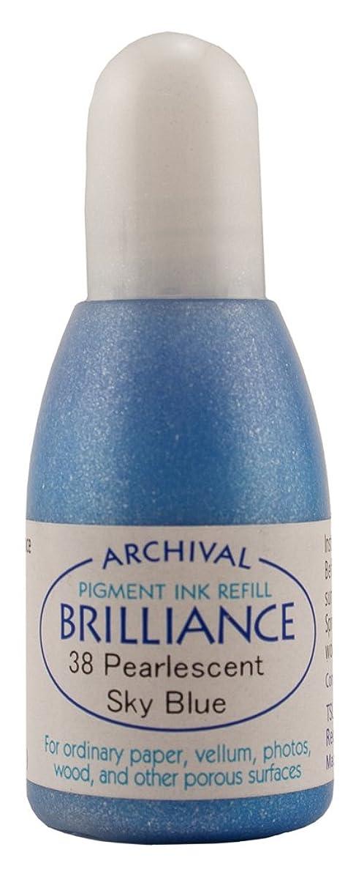 Tsukineko 20 cc Brilliance Pigment Inker, Re-Ink Brilliance Inkpads and Dew Drops, Pearl Sky Blue