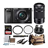 Sony Alpha a6000 24.3MP Mirrorless Digital Camera with 16-50mm and 55-210mm Lenses Bundle (10 Items)