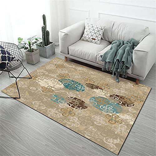 Teppiche wohnaccessoires deko Abstrakter Blumenmuster-Wohnzimmer-Sofateppich der braunen blauen Tinte kinderzimmer Teppich Jungen Teppich Schlafzimmer 120*170cm