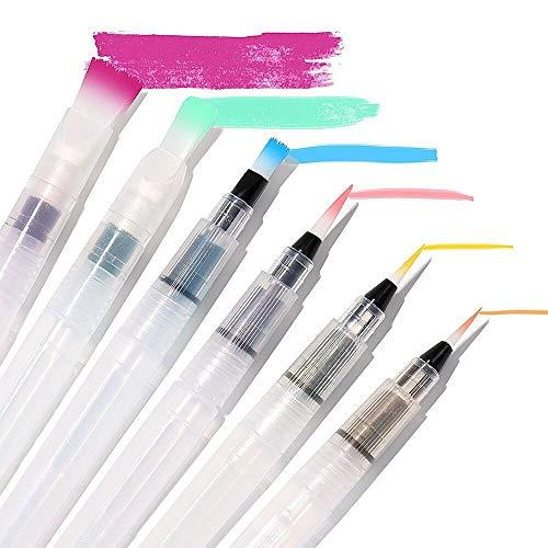 Juego de 6 pinceles para acuarela, rotuladores de colores solubles en agua, lápices de colores, compatibles con pigmentos en polvo, accesorios de arte ideales para la vuelta a la escuela