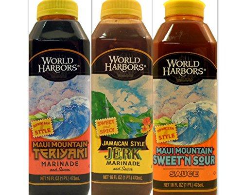 World Harbors Marinade Sauces Variety Bundle, 16 fl oz (Pack of 3) includes (1) Maui Mountain Teriyaki Marinade + (1) Jamaican Style Jerk Marinade + (1) Maui Mountain Sweet N Sour Sauce