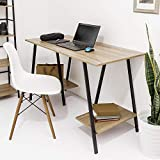 C-Hopetree Home Office Student Study Writing Desk with Shelves - Work Craft Table