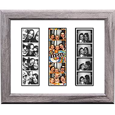 Creative Picture Frames CreativePF- [pbw8x10dw-w] Driftwood Wedding Photo Booth Frame - Holds 3-2x6 with White Mat to Display, Cherish and Preserve your Wedding Memories