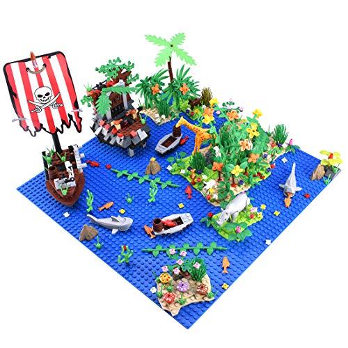 SESAY Placa de construcción personalizada con animales y planta para isla tropical, isla tropical, bloques de construcción, juego de construcción, compatible con casa de árbol Lego 21318