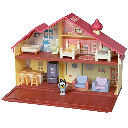 Bluey Heeler Family Home Play Set: 1 Official Collectable Bluey Action Figure, Large Playhouse Playset 4 Rooms, Furniture Accessories and Pull Down Patio