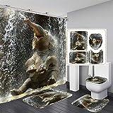 NICEME Diseño de Ducha Cortina de Ducha Cortina de Animales Digital Impreso Impermeable Resistente Lavable Baño Baño Juego de Cortinas Accesorios Baño con 12 Ganchos (Color : C, Size : 59 * 70.8inch)