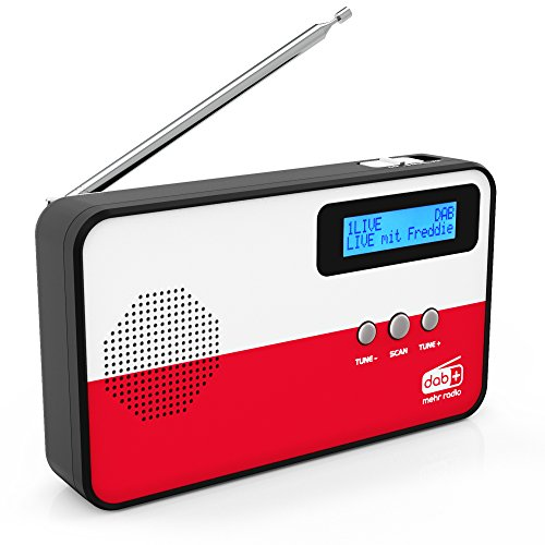 sky vision DAB Radio 100 - kleines Digitalradio, DAB Plus, mini, tragbar, mit Länderflaggen-Motiv