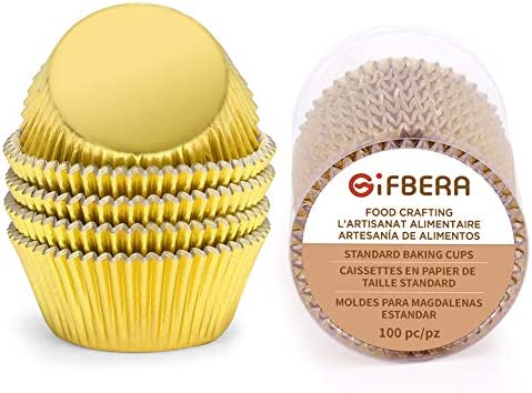 Gifbera Gold Foil Muffin Cupcake Liners Baking Cups Standard Size 100 Count product image