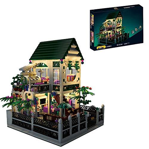 PEXL Haus Bausteine Bausatz, Romantische Villa Modular Architektur Modell mit LED-Beleuchtung, 1500 Klemmbausteine Kompatibel mit Lego