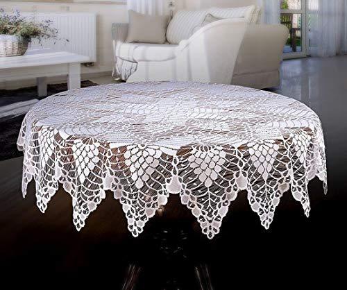 MforStyle Mantel redondo de encaje blanco 150 cm