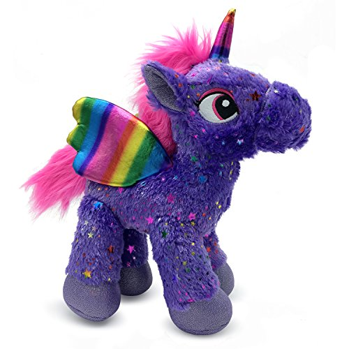 LittleFoot Nation Bright & Shiny 13'' Big Plush Sparkle Standing Unicorn Toy, Soft Rainbow Pegasus Alicorn Stuffed Animal with Wings for Kids (Purple)