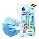 TECNOL Mascarilla INFANTIL Quirúrgica IIR - 1a Fábrica Española ISO Sanitaria AENOR - BFE  99% - 50uds - Sin Grafeno - Cómodas - Estructura 3 capas