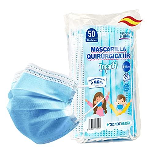 TECNOL Mascarilla INFANTIL Quirúrgica IIR - 1a Fábrica Española ISO Sanitaria AENOR - BFE > 99% - 50uds - Sin Grafeno - Cómodas - Estructura 3 capas