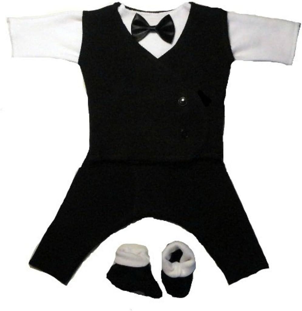 Jacqui's Baby Boys' Black and White Suit with Black Vest, Micro Preemie