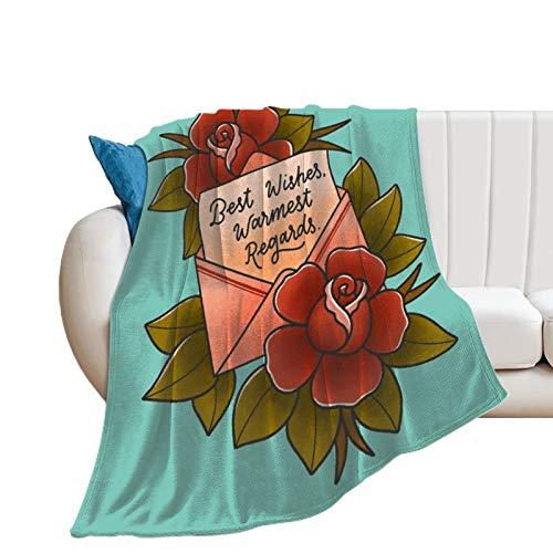 COLOUR Best Wishes, Warmest Regards - Manta de franela para sofá, cama y mantas, tamaño king, color blanco