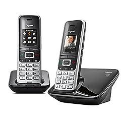 Gigaset S850A Duo Telefon - Schnurlostelefon / 2 Mobilteile - mit Farbdisplay / Dect-Telefon - Anrufbeantworter - schnurloses Telefon - mit Freisprechen - Platin-Schwarz