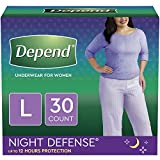 Depend Night Defense Incontinence Underwear for Women, Disposable, Overnight, L, Blush, 30 Count (2 Packs of 15) (Packaging May Vary)