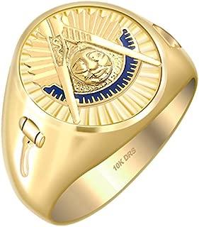 Customizable Men's Past Master 10k Gold Freemason Masonic Ring, Sizes 8 to 14