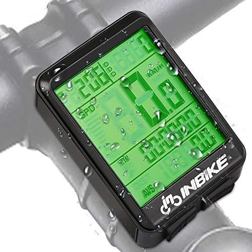 Hospaop Fahrradcomputer Kabellos, 13 Funktionen Fahrradtacho IPX7 wasserdichte Radcomputer LCD-Hintergrundbeleuchtung Kilometerzähler für Radsport Realtime Speed Track