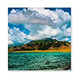 Square Canvas Wall Painting Modern Canvas Print Sea Scape Oil Painting Printed On Canvas Wall Art for Bedroom Living Room Stretched by Wooden Frame,Ready to Hang,16x16inches