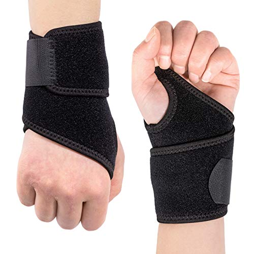 Carpal Tunnel Wrist Brace, Kmeivol 2 Pack Wrist Brace, Adjustable Wrist Wrapes for Men and Women, Lightweight and Breathable Wrist Splint for Sports, Wrist Support for Right and Left Hands (Black)