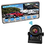 Wireless Backup Camera for Car, Magnetic Trailer Hitch Reverse Camera with Rechargeable Battery, IR Night Vision Vehicle Backup Cameras for Easy Hitching of Gooseneck Trailer/RV/Camper Car