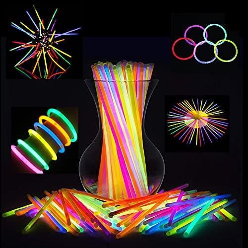 Metcharmant Varillas de brillo a granel (500 piezas), colores mezclados, luces de neón que brillan en la oscuridad, envían ojos y conectores de pulsera