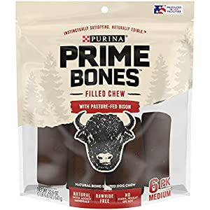 Purina Prime Bones Dog Bone, Made in USA Facilities, Natural Medium Dog Treats, Filled Chew With Pasture-Fed Bison – 22.6 Oz. Pouch