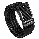 JUKMO Ratchet Belt for Men, Nylon Web Tactical Gun Belt with Automatic Slide Buckle (Black, Small)