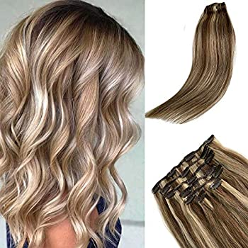 Remy Clip in Hair Extensions Blonde with Brown Balayage Clip ins Extensions Human Hair Silky Straight 15 Inch Short Clip on Extension Blonde Highlights on Brown Hair 70Gram #4/613