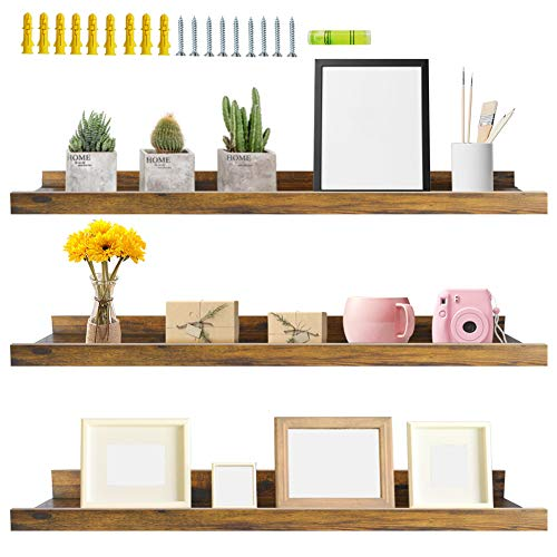 Giftgarden 36 Inch Large Floating Shelves for Wall Set of 3, Rustic Picture Ledge Shelf Decor for Bedroom Kitchen Bathroom Living Room Nursery Display, 3 Different Sizes