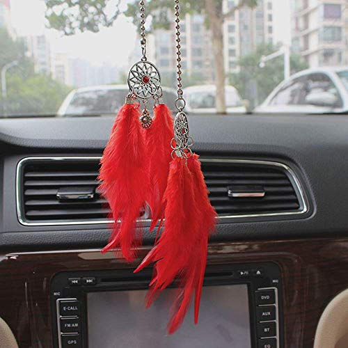 Julymall auto bedeltje achteruitkijkspiegel opknoping ornament veren huisdecoratie trui ketting Rood