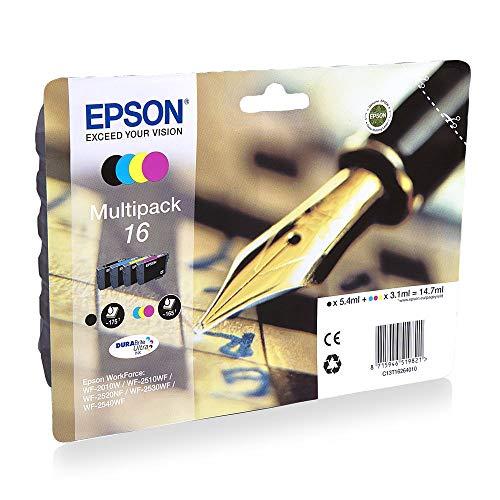 Epson EasyMail C13T16264511 Inchiostro Durabrite Ultra, colori assortiti, 16, pronto per il rifornimento di Amazon Dash (confezione da 4), Multicolore (Black/Cyan/Magenta/Yellow)