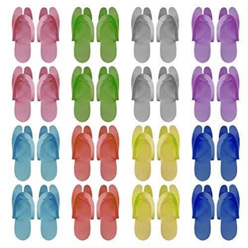 Happyyami 24 Pares de Chanclas Desechables Zapatillas Plegables de Espuma para Pedicura SPA Baño de Pies Salón de Uñas Color Mezclado