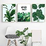 MYSY Grüner Kaktus Große Tropische Blätter Wandkunst