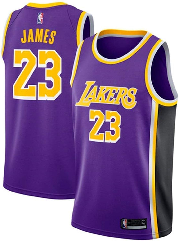 ZAIYI-Jersey Herren-Basketballtrikot Lebron James   23 NBA Los Angeles Lakers, New Fabric Embroiderot Swingman Jersey rmelloses Hemd (Farbe   G, Größe   S)