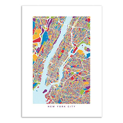 Wall Editions Art-Poster - New-York Colored Map - Michael Tompsett