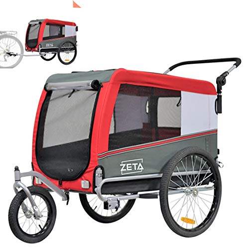 Papilioshop Zeta - Remolque para bicicleta, cochecito, transporte de perros, animales (rojo)