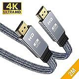 4K@60Hz HDMI Kabel 2Meter, Snowkids 4K Flach HDMI 2.0 Kabel Highspeed 18Gbps HDCP 2.2 Nylon...