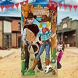 Western Party Dekorationen, West Cowboy Foto Stand Requisiten, Große Stoff West Cowboy Foto Tür Banner Hintergrund, Lustige Western Spiele Lieferungen für Wild Western Cowboy Party, 6 x 3 Fuß