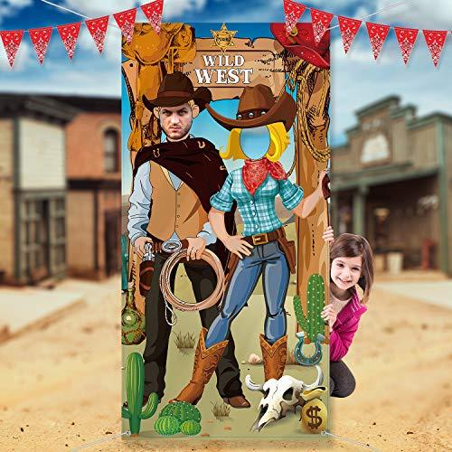 Decoraciones de Fiesta de Oeste Fotos de Vaquero del Oeste Accesorios de Cabina Tela Gran Vaquero Foto Puerta Bandera Fondo Suministros Divertidos de Juegos para Fiesta Salvaje del Vaquero 6 x 3 Pies