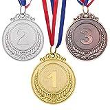 NUOBESTY 3 medallas de precio de bronce de plata de oro, medallas de ganador de estilo Olympique con cintas para competiciones deportivas,...