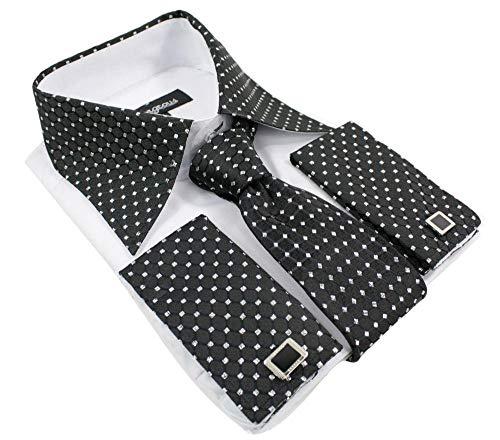 The Gorgeous 1 Chemise Homme Noir Blanc avec cravatte Boutons de Manchette et Pochette Tissu Brillant